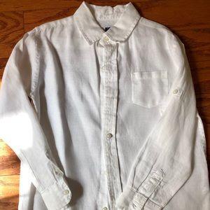 Janie & Jack White linen button down boys 6